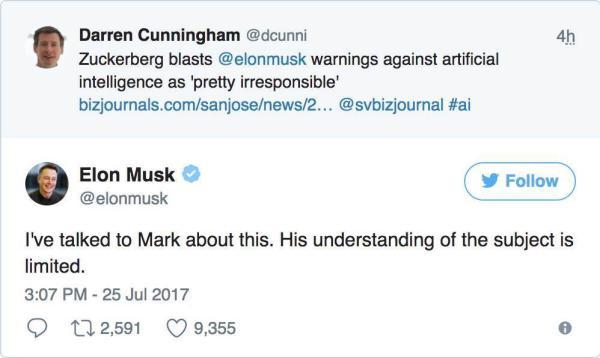 扎克伯格不认为人工智能是末日马斯克回怼:你的理解很有限