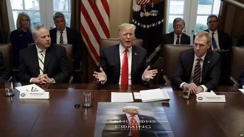 1月2日,特朗普在白宫举走内阁会议,代理国防部长沙纳汉坐在特朗普左边。(美联社)