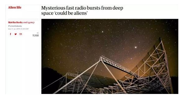 卫报:宇宙神秘信号可能来自外星生命