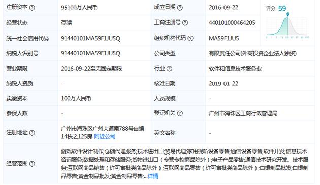 广州小米通讯注册资本由100万元增至9.51亿元