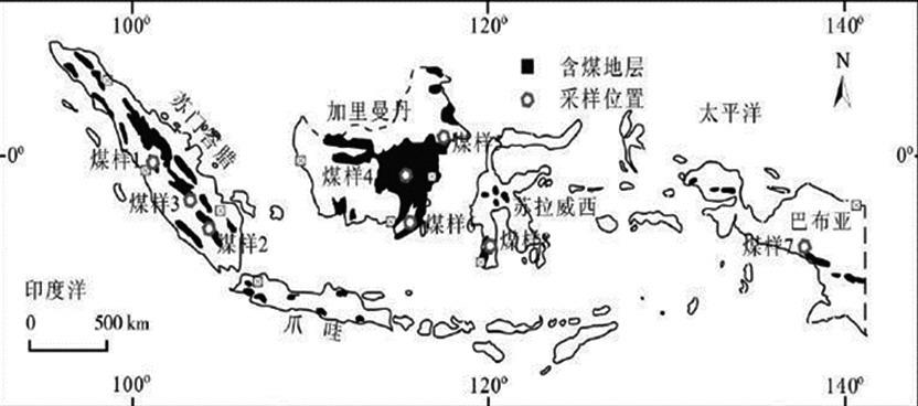 图为印度尼西亚的含煤盆地分布