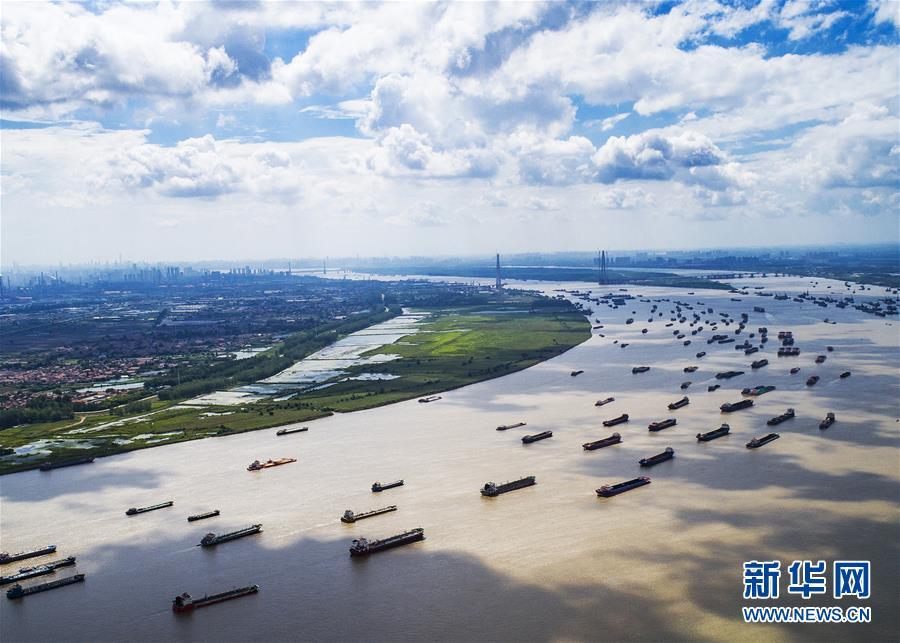 船舶在湖北武汉阳逻港区水域行驶(2018年8月13日无人机拍摄)。新华社记者 肖艺九
