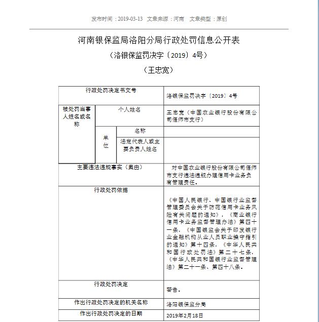 禁止从事银行业工作5年、罚款40万,农行偃师支行被重罚