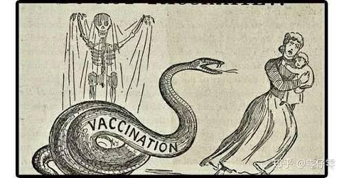 (图为1892年出版的美国反疫苗书籍中的插画,画中把疫苗描绘成毒蛇)