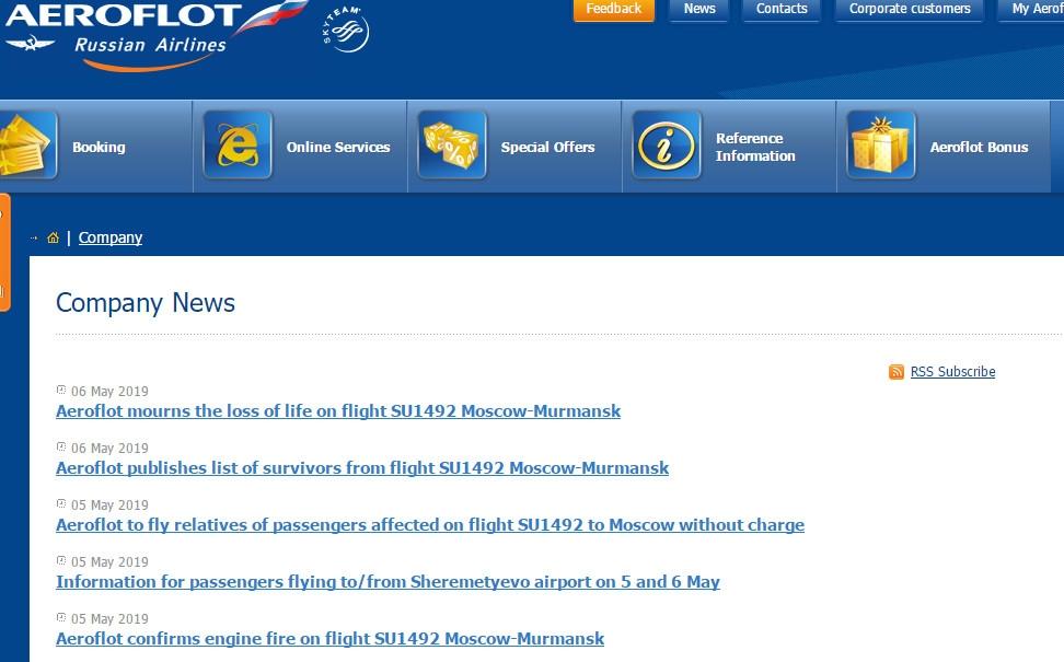 俄航就坠机事件发布多条声明 哀悼遇难者