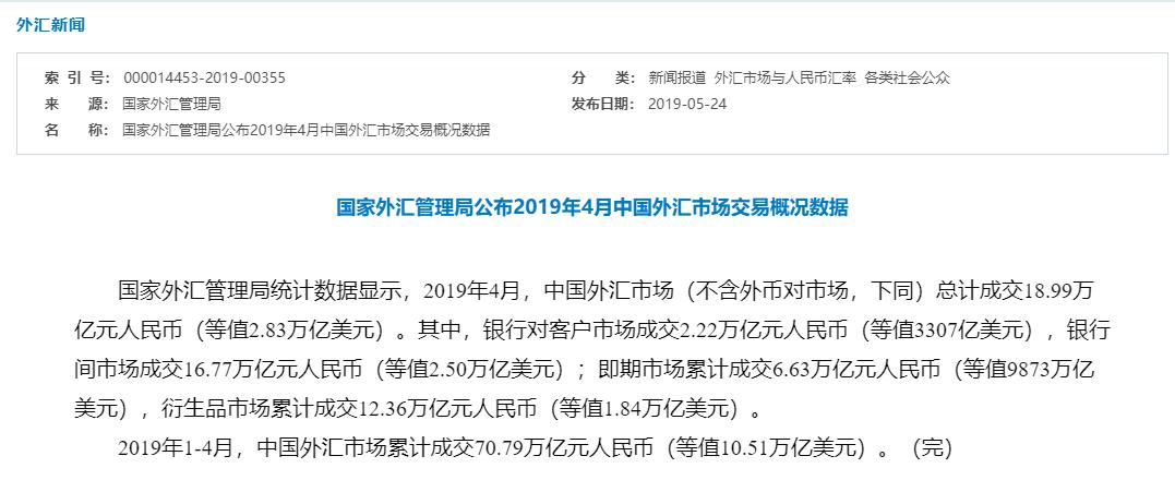外汇局:1-4月中国外汇市场累计成交70.79万亿元