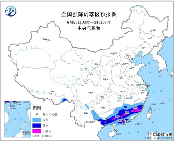 暴雨黄色预警 广西广东福建等地有大暴雨并伴有雷暴大风
