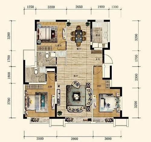 110㎡三室两厅两卫户型图