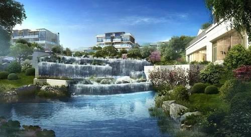 杭州新湖・金色池塘恒温泳池外水景效果图