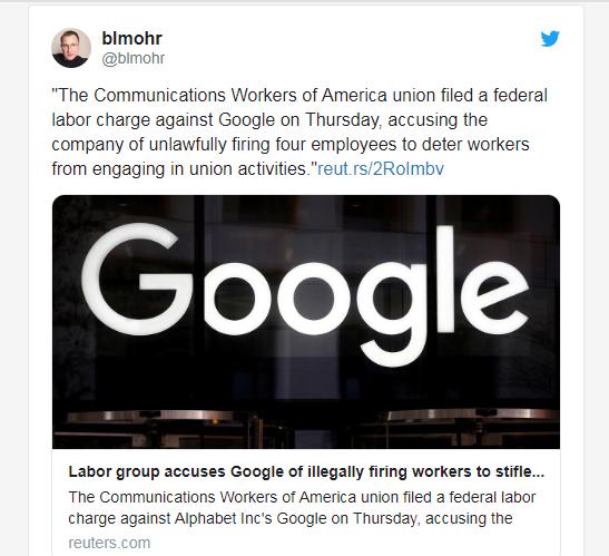 CWA:Google不公平地解雇了试图加入该工会的员工