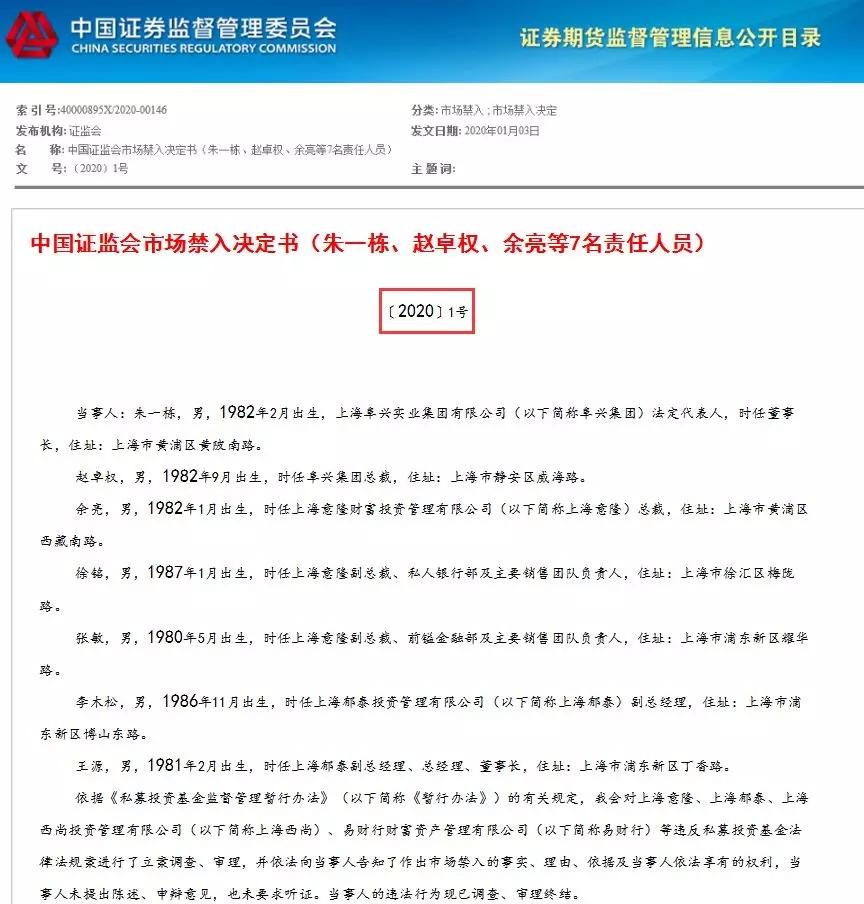 证监会对阜兴集团法定代表人朱一栋、赵卓权采取终身证券市场禁入措施;对余亮采取十年证券市场禁入措施。