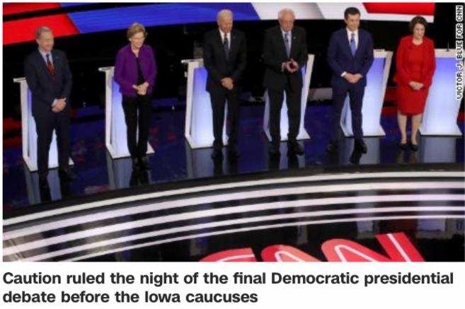 1月14日晚,六位民主党参选人同台申辩。/CNN报道截图