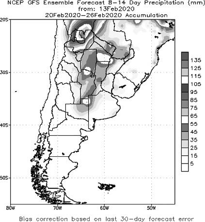 图为后期阿根廷降雨展看