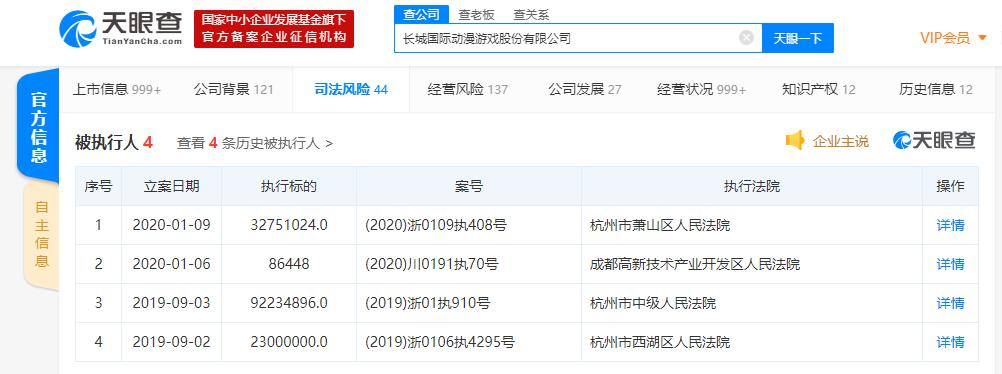 """长城动漫再成""""老赖"""" 执行标的超3000万 2019年业绩预亏3.5亿-4.5亿元"""