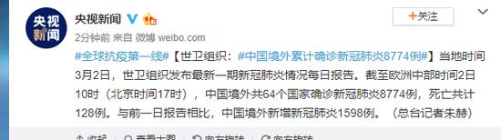 世卫组织:中国境外累计确诊新冠肺炎8774例