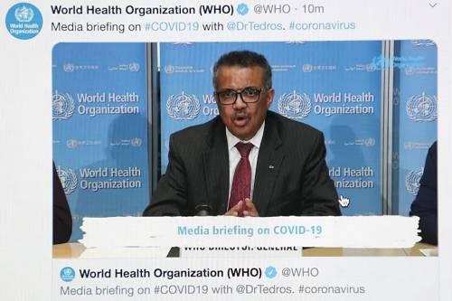 这是3月16日在比利时布鲁塞尔拍摄的世界卫生组织总干事谭德塞在瑞士日内瓦出席线上记者会。新华社记者 郑焕松 摄