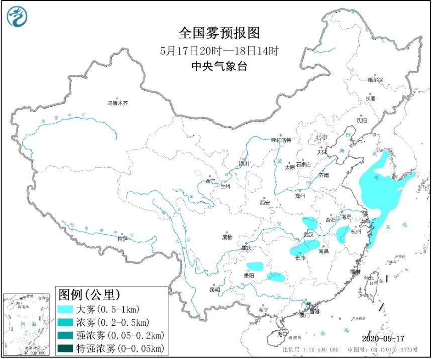 大雾黄色预警 湖北湖南安徽等5省区部分地区有大雾