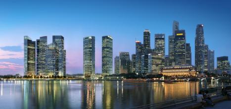 (新加坡滨海湾金融中心实景图)