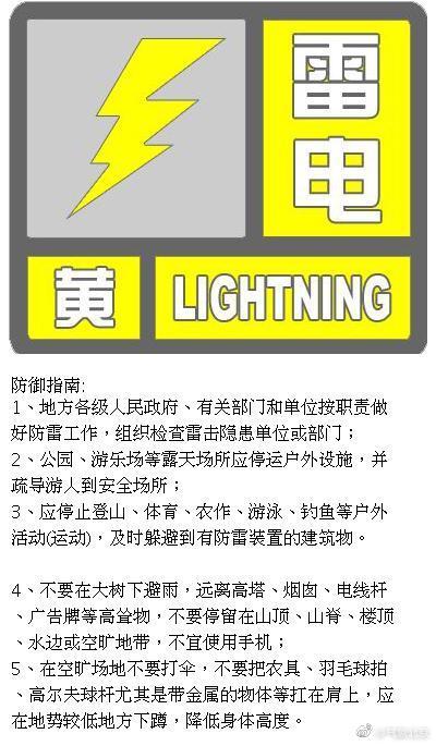 北京发布雷电黄色预警 局地短时雨强较大