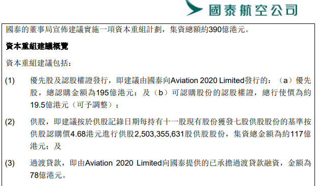受疫情冲击国泰航空拟融资390亿港元 港府将出手相助