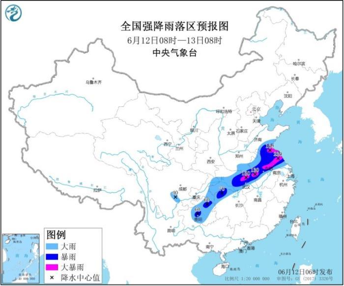 中央气象台发布暴雨黄色预警 湖北安徽等地局地有大暴雨