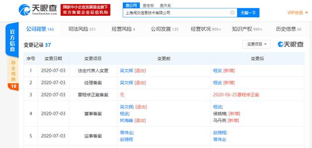 吴文辉卸任上海阅文信息技术有限公司法定代表人程武接任