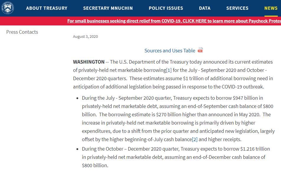 美财政部下半年再借款2万亿美元 惠誉警告赤字扩大风险