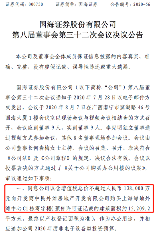 """14亿上海外滩买楼,国海证券欲打造新职场,沪上拓业务?账上""""趴着""""现金113亿,上市券商排名29位"""