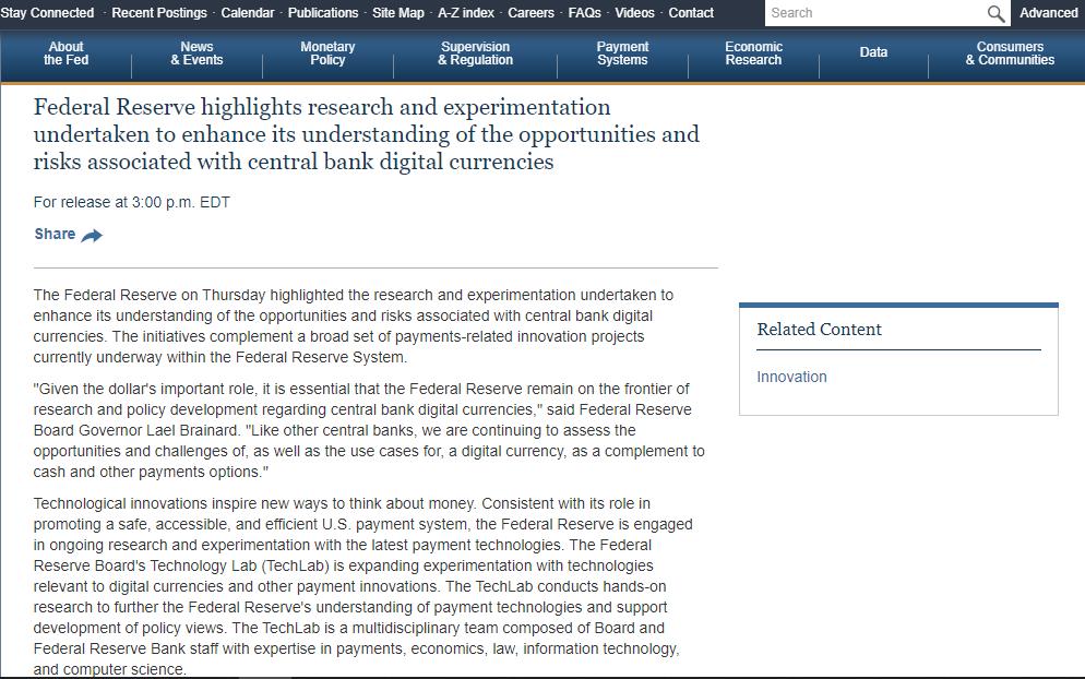 美联储正与麻省理工学院就数字货币进行合作