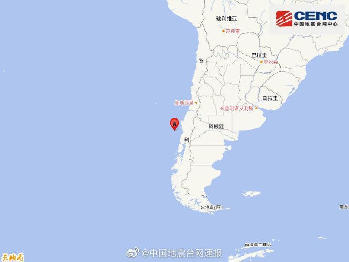 智利中部沿岸远海附近发生6.9级左右地震