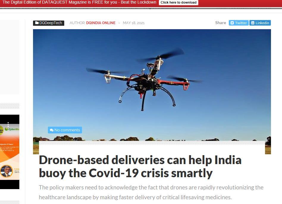 疫情失控的印度该怎么办?再有印媒建议:赶紧批准用无人机快递疫苗