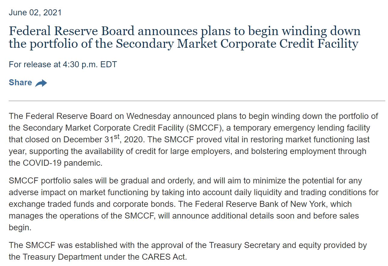 美联储计划逐步缩减企业信贷工具资产规模 强调与货币政策转向无关