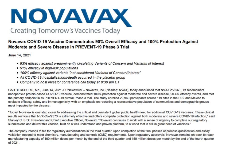 "Novavax疫苗亮眼数据引发制药厂""内卷"" 各赛道公司股价集体下挫"