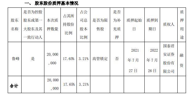 榕基软件控股股东鲁峰质押2000万股用于融资