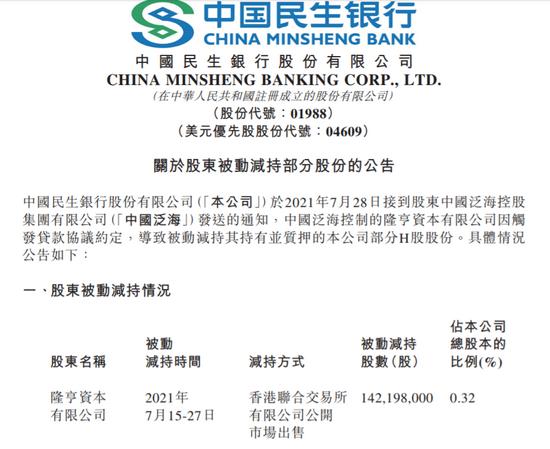 民生银行:中国泛海因触发贷款协议约定 被动减持公司1.42亿股