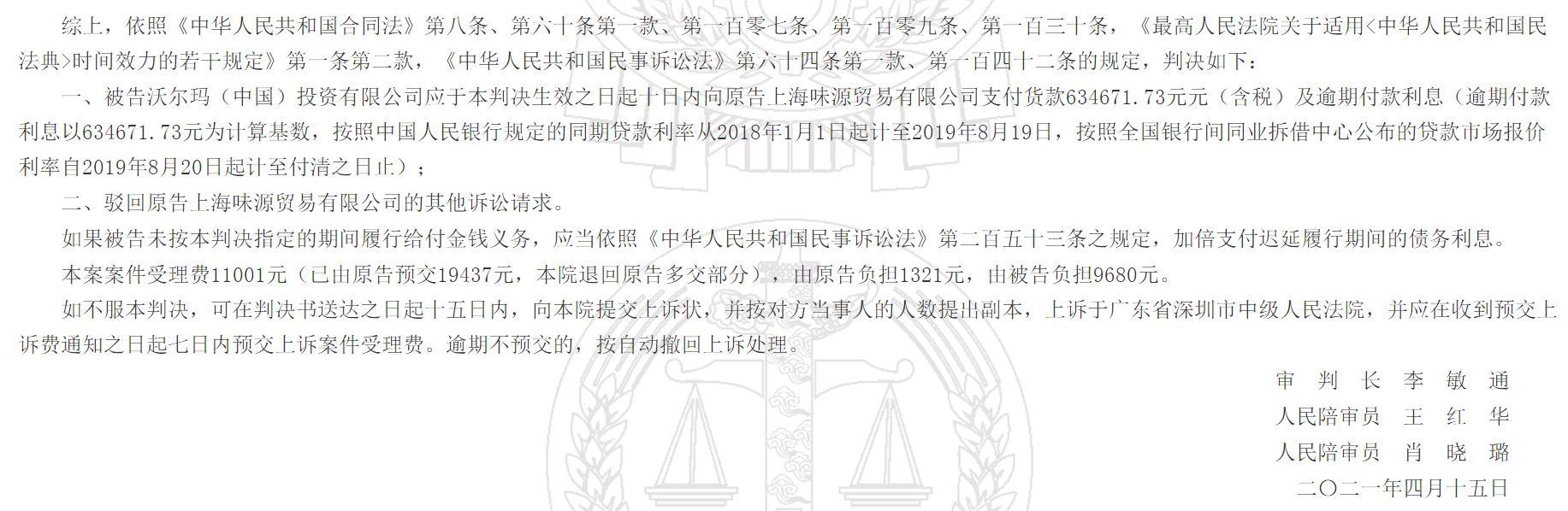 沃尔玛被强制执行:涉与供应商买卖合同纠纷