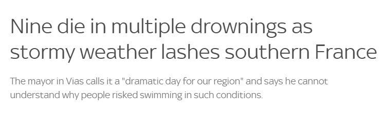 暴风雨袭击之际多人溺海死亡,法国一市长又悲又怒:无法理解在极端天气还有人下海