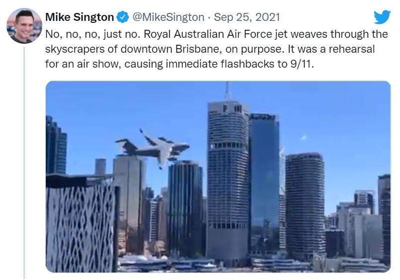 """澳空军飞机穿梭城市高楼画面?""""吓坏""""美国人,澳媒:他们刚纪念完""""9·11"""""""