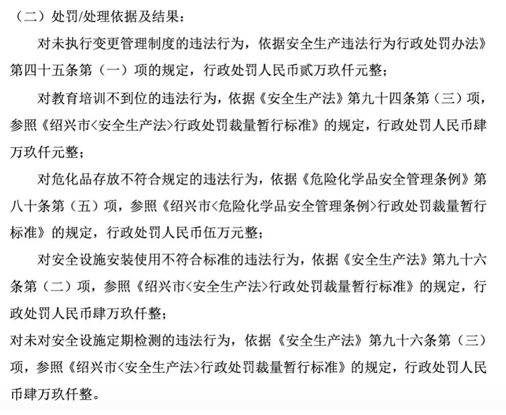 吉泰新材因危化品存放不符合规定等5项违规共计被罚款22.6万元